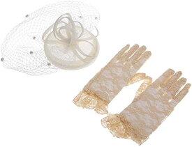 トーク帽 ブライダル 帽子 カクテルハット ヘッドドレス ウェディング チュール 礼装帽子 フォーマル 手袋 レース手袋(アイボリー, フリーサイズ)