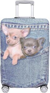 スーツケース 保護 カバー かわいい イヌ ネコ デニム トランクケース キャリーケース 伸縮 旅行 OD13 犬・ チワワ ブルー(犬・ チワワ(ブルー), M)