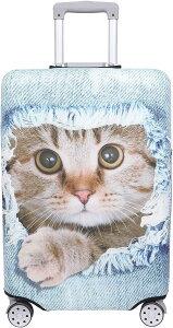 スーツケース 保護 カバー かわいい イヌ ネコ デニム トランクケース キャリーケース 伸縮 旅行 OD13 猫・ 茶トラ ライトブルー MDM(猫・ 茶トラ(ライトブルー), S)
