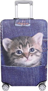 スーツケース 保護 カバー かわいい イヌ ネコ デニム トランクケース キャリーケース 伸縮 旅行 OD13 猫・トラ インディゴ(猫・トラ(インディゴ), M)