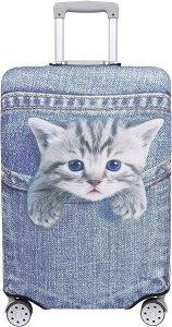 スーツケース 保護 カバー かわいい イヌ ネコ デニム トランクケース キャリーケース 伸縮 旅行 OD13 猫・トラ ブルー,(猫・トラ(ブルー), L)