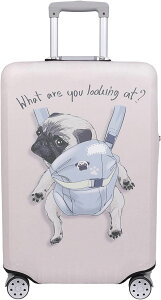 スーツケース 保護 カバー かわいい イヌ ネコ デニム トランクケース キャリーケース 伸縮 旅行 OD13 犬・ パグ アイボリー(犬・ パグ(アイボリー), S)