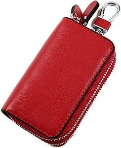 スマートキーケース ジャバラ式 お財布付き ダブルファスナー 専用 本革 レザー カード収納 大型キー対応(レッド)