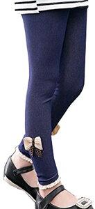 デニム風 レギンス スパッツ 無地 パンツ 伸縮 柔らか デニレギ 青 10分丈 リボン 子供服 キッズ ガールズ(ブルー, 100)