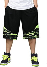 バスケパンツ 大きいサイズ バスパン 幅広 ワイドハーフパンツ メンズ(グリーン, 3XL)