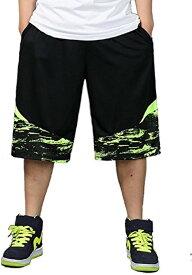 バスケパンツ 大きいサイズ バスパン 幅広 ワイドハーフパンツ メンズ(グリーン, XL)