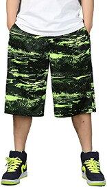 バスケパンツ 大きいサイズ バスパン 幅広 ワイドハーフパンツ メンズ(グリーン, 4XL)
