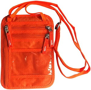 パスポートケース 首下げ スキミング防止 ネックポーチ 旅行 便利 貴重品入れ(オレンジ)