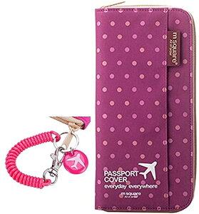 パスポートケース 多機能 貴重品 入れ 落下防止 ストラップ付 かわいい カバー TG200(水玉パープル)