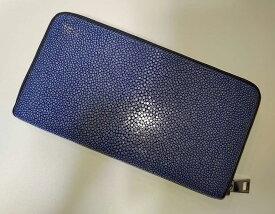 スティングレイ ガルーシャ 長財布財布 大容量 ラウンドファスナー 美品(ネイビー)