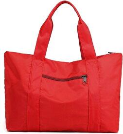 トートバッグ 大容量 防水 ナイロン 大きめ 旅行鞄 キャリーオンバッグ 肩掛け 手提げ 2WAY SH314(レッド, 35L、15.6型ノートPC)