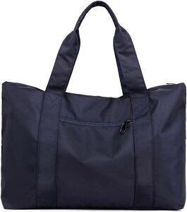 トートバッグ 大容量 防水 ナイロン 大きめ 旅行鞄 キャリーオンバッグ 肩掛け 手提げ 2WAY SH314(ネイビー, 35L、15.6型ノートPC)