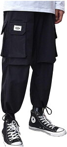 九分丈 カーゴパンツ 腰ひも 裾ひも カジュアル ワンポイント 多機能 ポケット ワークパンツ ジョガーパンツ ワイドパンツ アンクルパンツ サルエルパンツ ズボン サバゲー 男女兼用 ユニセ