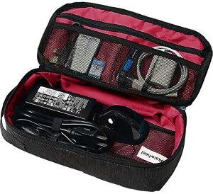 ケーブル 収納 トラベル ポーチ 旅行 メンズ ガジェットポーチ 便利(外装:ブラッグ/内装:レッド)