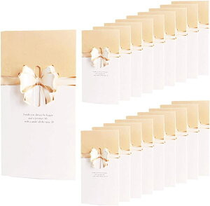 リボン 付 メッセージカード 20枚 セット 席札 披露宴 結婚式 用 グリーティングカード ウェルカム 立体(クリーム)