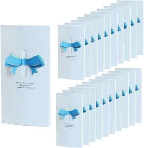 リボン 付 メッセージカード 20枚 席札 披露宴 結婚式 用 グリーティングカード ウェルカム 立体(ブルー)