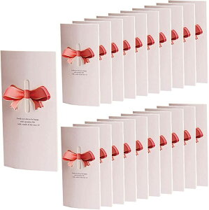 リボン 付 メッセージカード 20枚セット 席札 披露宴 結婚式 用 グリーティングカード ウェルカム 立体(ピンク)