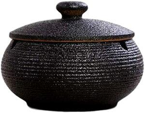灰皿 ふた付き 陶器 蓋付き シンプル インテリア アンティーク 卓上 旅館 料亭 ホテル 和風 業務用(黒)