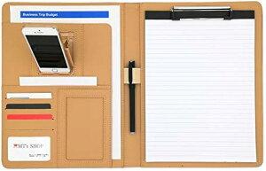 クリップボード A4 二つ折り PUレザー 多機能フォルダー バインダー スマホスタンド内蔵 メモ帳付属 OF308(紺色, A4)