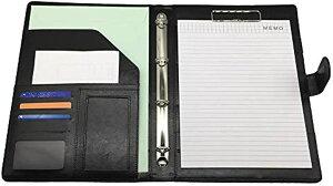 クリップボード A4 バインダーケース ホルダー クリアファイル付き 仕事 会議(ブラック)
