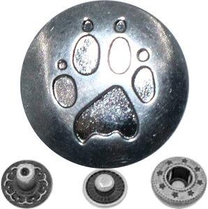 バネ ホック ボタン 15mm かわいい 肉球柄 スナップボタン レザークラフト DIY 手芸用パーツ SW1497シルバー30個セット(シルバー「30個」セット)