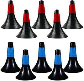 バスケットボール マーカーコーン トレーニング スポーツ用品 カラーコーン ブルー * ブラック レッド 10本セット(ブルー * ブラック レッド * ブラック, 23.5*17*4cm)