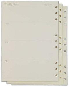 ルーズリーフ B5 9穴 リフィル システム手帳 交換用 90頁 3冊 セット アイボリー OF290 週間(週間 3冊 (B5), B5)