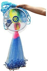 魚捕り用 投網 仕掛け網 手投げ網 ナイロン 漁具 螺旋式 小魚 海 川 大漁(直径3m)