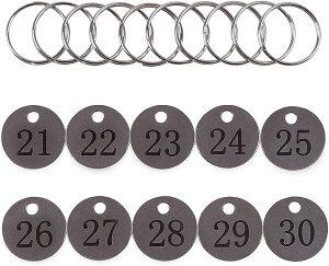 番号札 荷札 ドア 20mm 21-30 タグ クローク キー ラベル ステンレス スチール リング 10個 付き(20mm21-30)