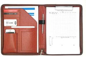 クリップ ファイル ボード PUレザー 多機能 フォルダー オーガナイザー OF273(茶色, A4)
