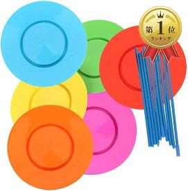 皿回し セット x6スピンクル プレート 棒付初心者 入門用 道具 さらまわし ピンク・オレンジ・緑・青・赤・黄