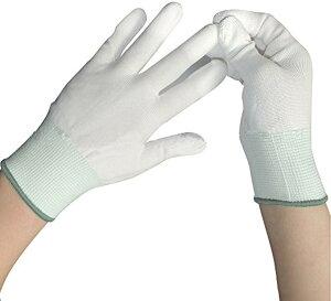 作業用 手袋 グローブ 15双 セット 指先 滑り止め 加工 選べるサイズ 白(Lサイズ)