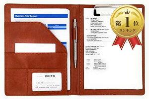 PU レザー クリップ ボード ファイル サイズ 書類 フォルダ バインダー カード ポケット ペン ホルダー 搭載 オフィス 事務 用品(茶, A5)