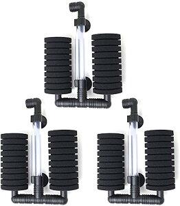 ダブル スポンジフィルター 水槽 ろ過装置 XY-2822(3個セット)