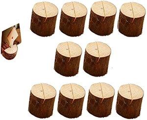 カードスタンド メモスタンド メモホルダー 木製 写真立て メモクリップ オフィス デスク 机上用品 文房具(切り株10個)