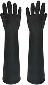 ゴム手袋 60cm ロング 厚手 サンドブラスト メッキ グローブ 消毒 清掃 作業 黒(ブラック, Free)
