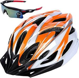 自転車 ヘルメット ロードバイク クロスバイク サイクリング 大人 超軽量 高剛性 大人用 サングラス セット ホワイトxオレンジ(07.ホワイトxオレンジ, フリー)