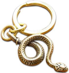 ヘビ 蛇 キー ホルダー 真鍮 金 ゴールド ペンダント トップ(2重カン)