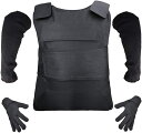 ST TS 防刃 ベスト + 手袋 アームカバー 3点セット フリーサイズ チョッキ 暴漢 対策 警備 警護 護身 サバゲー