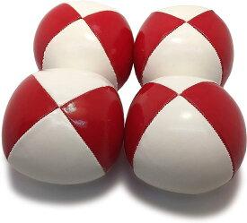 ジャグリング用 ボール 赤白 レッド&ホワイト4個セット 直径 約5.7cm 約90gE592