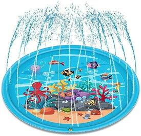 噴水マット プレイマット 噴水おもちゃ キッズ 水遊び 親子遊び プールマット アウトドア噴水池 庭の中に遊び 家族用 芝生遊び 子供プレゼント 直径170CM