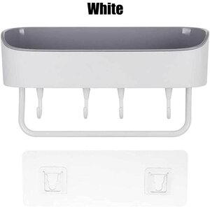 台所棚 浴室用ラック 粘着式 シャワーラック お風呂 壁 洗面所ラック ホルダー 壁掛けラック 調味料 収納ラック(白)