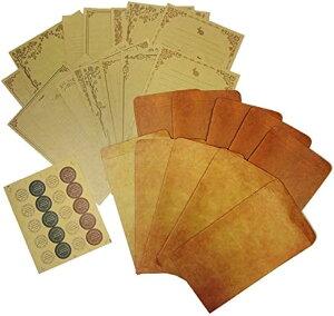 レターセット レトロ アンティーク 調 封筒 10枚 便箋16枚 シール 手紙(マルチセット)