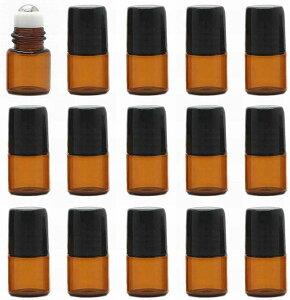 アロマ 化粧品 精油 香水 小分け用 ロールオンボトル 遮光瓶 15本セット 茶 ブラウン ガラス ロールタイプ(2ml)