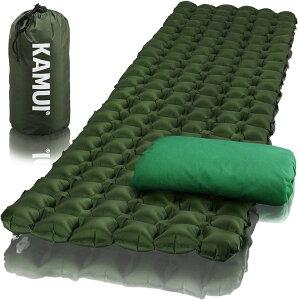 寝袋用マット パッド 便利な枕カバーと修理パッチ付 スリーピングマット スリーピングパッド 携帯エアーマット エアーパッド 軽量でコンパクト キャンプ バックパッキング 防災などに最適