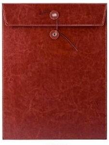 A4 書類 高級感 持ち運び ケース 契約書 革製品 レザー 合皮 ビジネス(茶色)