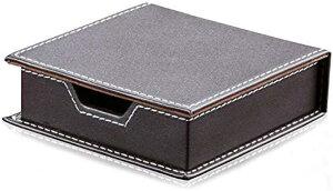レザー 蓋付 小物 箱 付箋 入れ オフィス トレイ 整理 名刺 収納 高級感 ビジネス 黒・茶色(茶色)