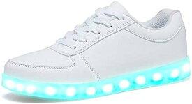 ナイト ラン メンズ レディース キッズ LED スニーカー 20.5cm 〜 28cm 7色+4パターン発光 11通り USB 充電式 31 20-20.5cm(ホワイト, 20.0〜20.5 cm)