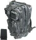 超軽量で持ち運びも容易 MOLLE 対応 外部スマホポーチ付き 迷彩 アサルト タクティクス リュック(タイフォン黒)