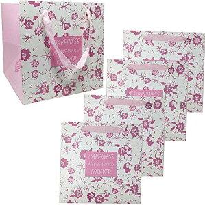 紙袋 5枚セット + メッセージカード 幅広 マチ広 ギフトバッグ ケーキ 手提げ ラッピング マチ25cm(ピンク, マチ25cm)